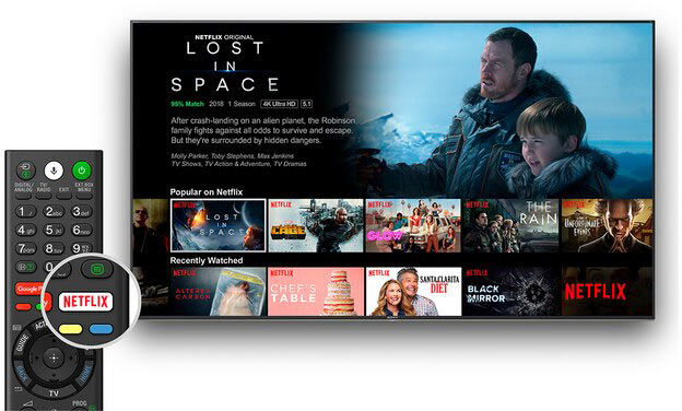 دکمه مخصوص Netflix روی ریموت کنترل تلویزیون 4K Ultra HD سونی 55X8077G